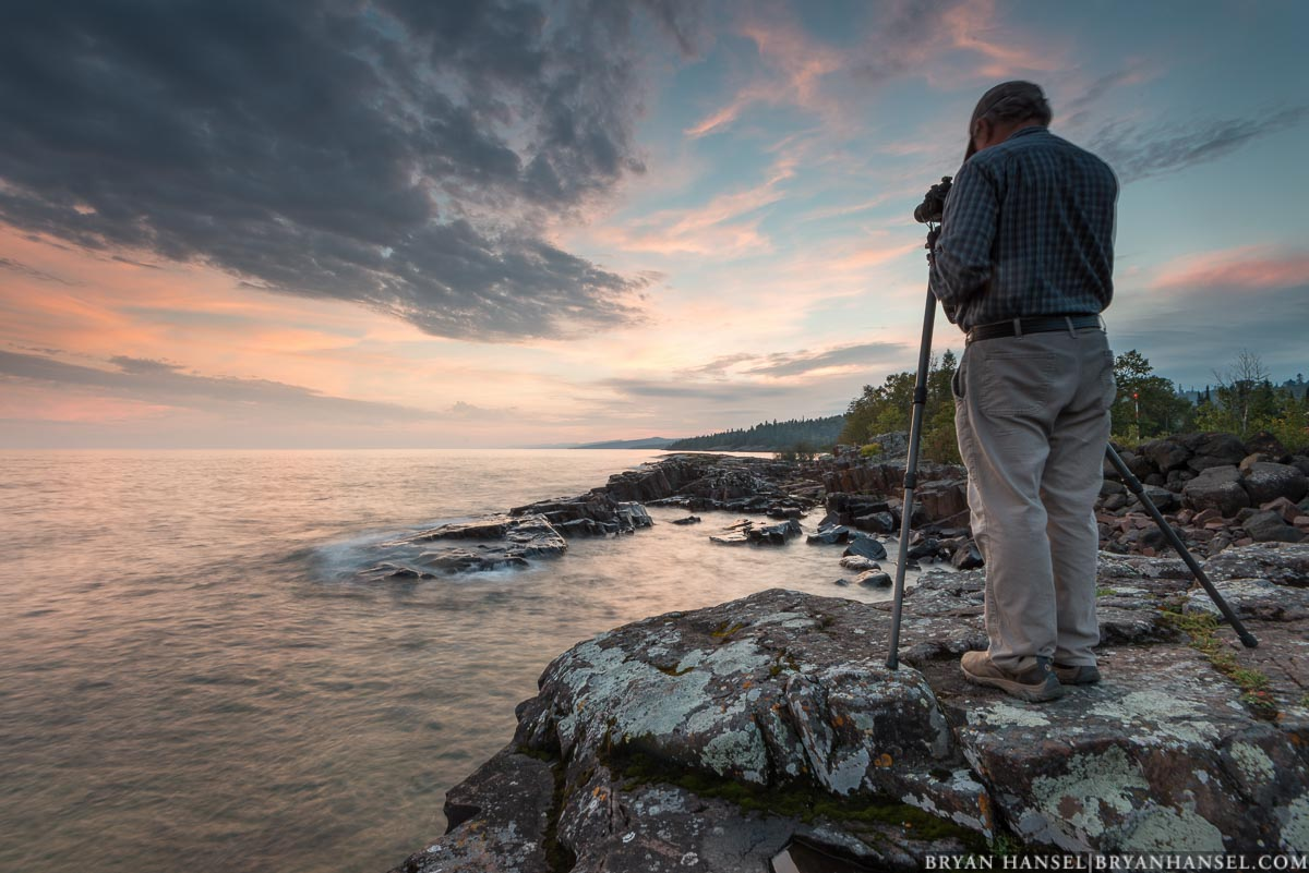 Paul Sundberg photographing Lake Superior