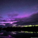 purple northern lights over Devil Track
