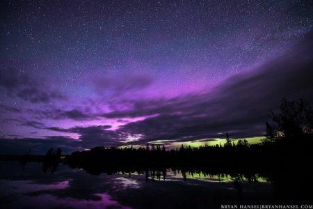 purple northern lights over Devil Track