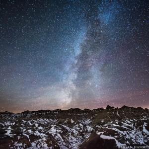 Milky Way over Badlands