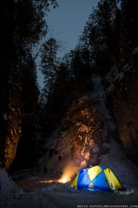 fire and tent in Kadunce River Canyon