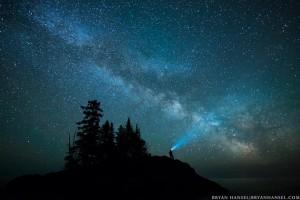 headlamp under the Milky Way