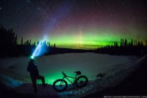 petzl headlamp under the northern lights