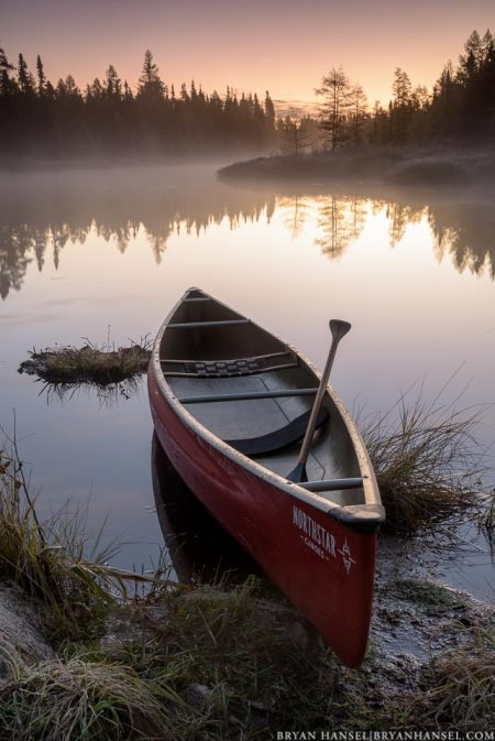 canoe on junco river at sunrise