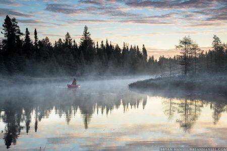 canoe on junco river at sunrise