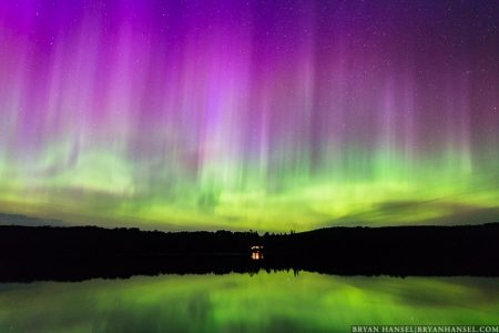 purple northern lights in northern minnesota