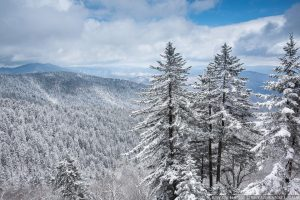 snow covered mountains in the Smoky Mountains