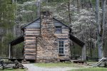 cabin and dogwood in smoky mountains