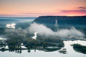 misty morning sunrise in Iowa