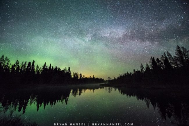 northern lights and Milky Way over Junco River