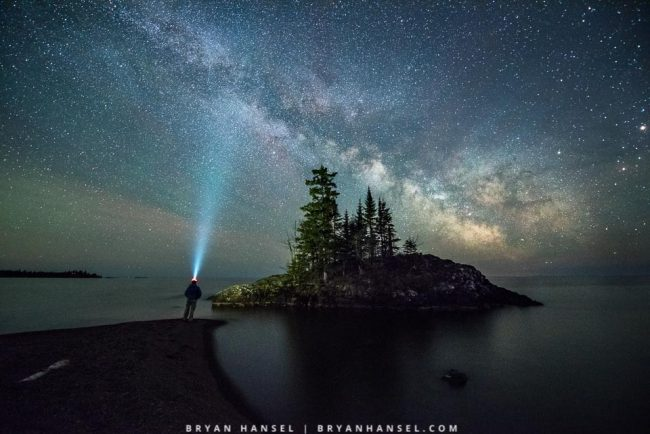 Milky Way, Island and a Person