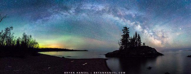 Milky Way pano over Lake Superior
