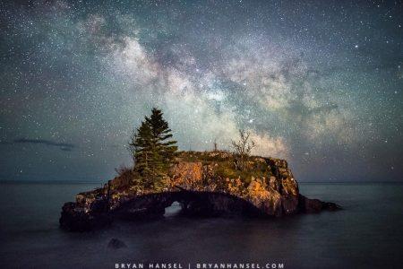 Milky Way over Hollow Rock in Minnesota