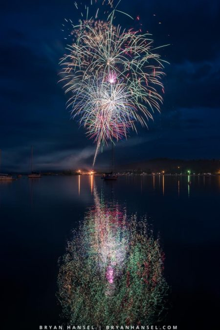 fireworks over Grand Marais, MN harbor on 4th of July