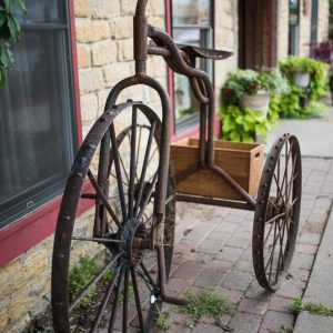 rusted metal tricycle