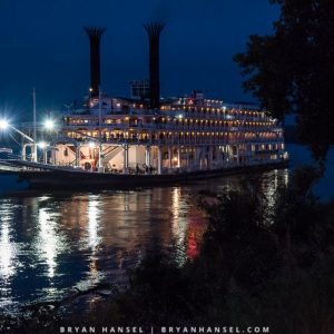 American Queen on the Mississippi River at night