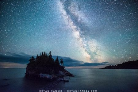 Milky Way over The Rock and Lake Superior