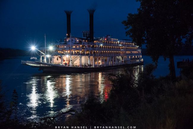night shot of the Mississippi Queen