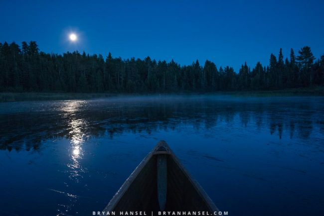 blue hour and a canoe