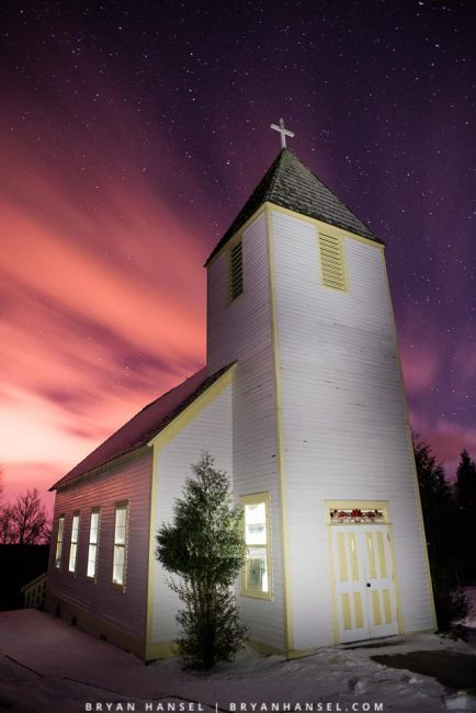 The Maple Hill Church under stars and fast moving clouds. Minnesota.