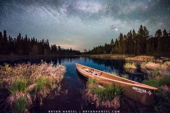 low level lighting at night on a canoe