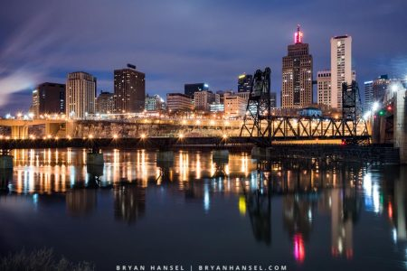 Roberts Street train bridge in the blue hour