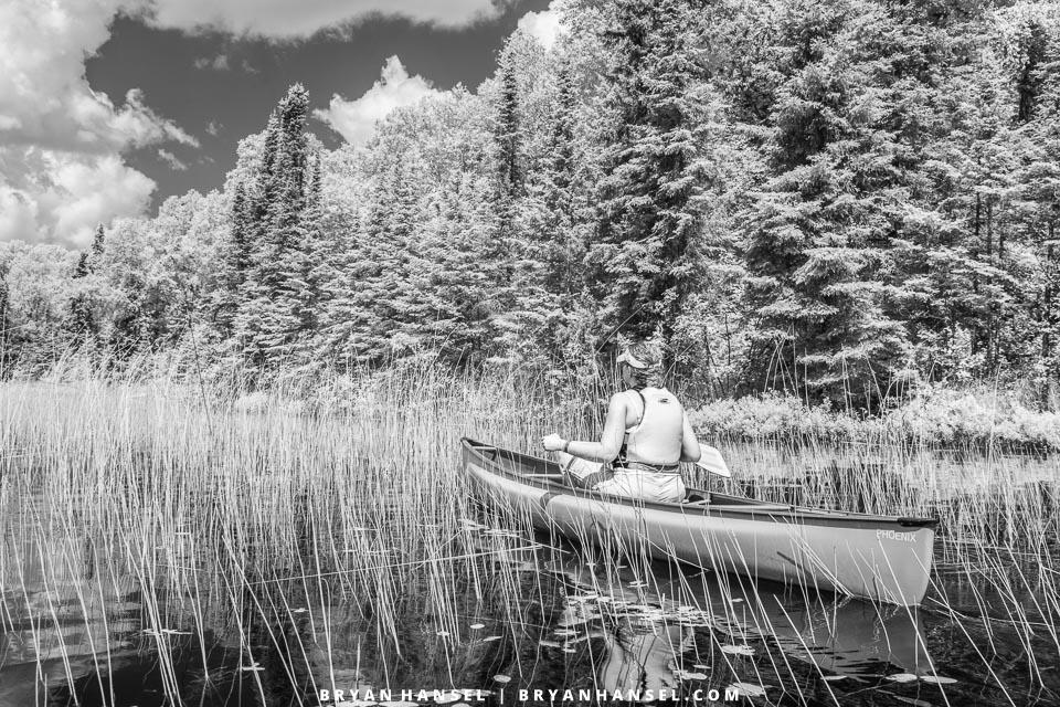 canoe and canoeist in infrared