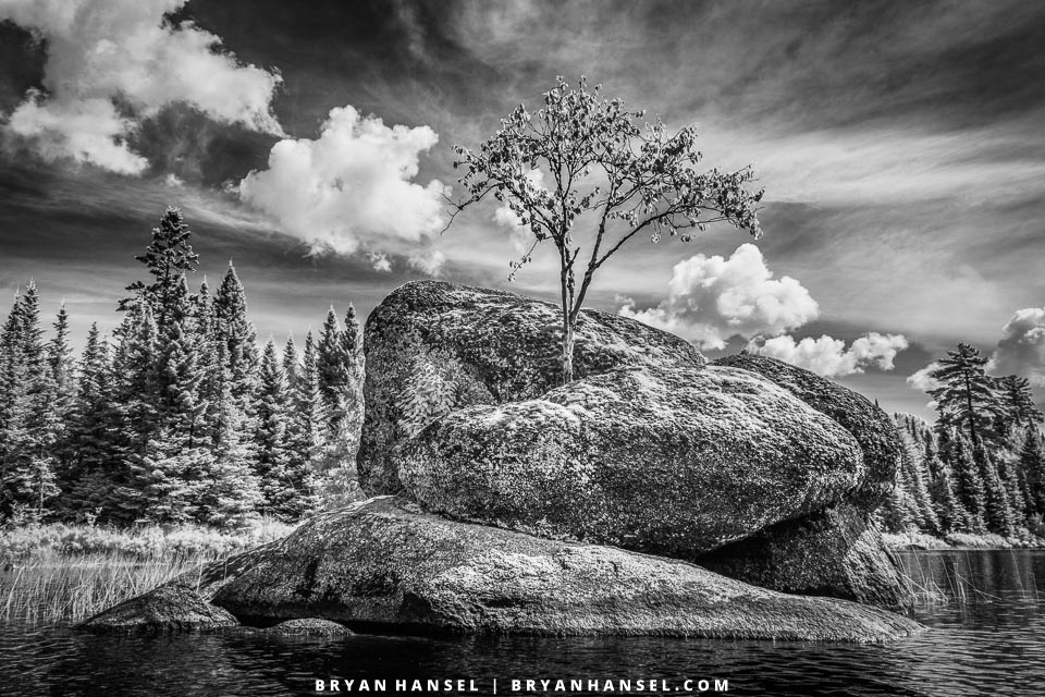 black and white infrared canoe country